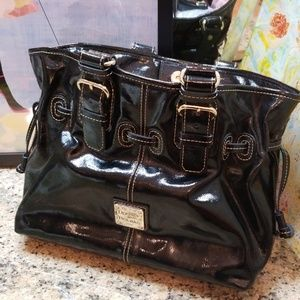 Large Dooney and Bourke Gloss Black Patent Bag